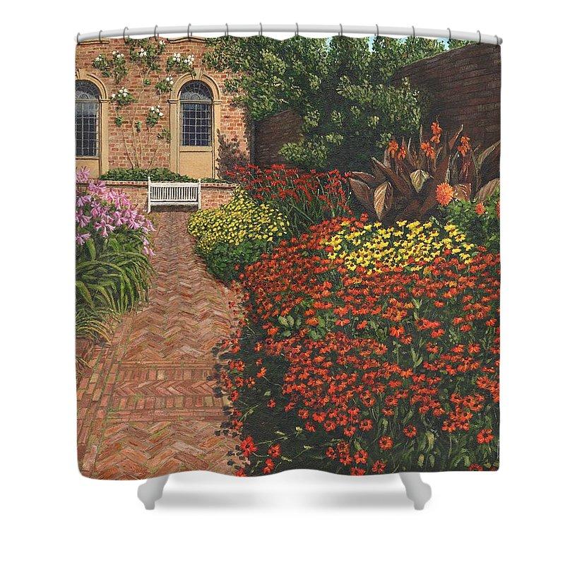 Landscape Shower Curtain featuring the painting Barrington Court Gardens Somerset by Richard Harpum