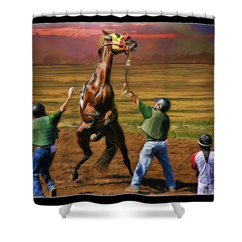 Peekarandoconer Shower Curtain featuring the photograph Barrington Harvey Looks On Horse Peekarandoconer Moment by Blake Richards