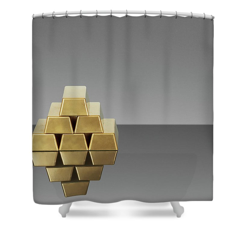 Finance Shower Curtain featuring the photograph Bars Of Gold Reflected In Countertop by Gp Kidd