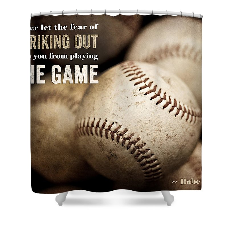 Baseball Art Featuring Babe Ruth Quotation Shower Curtain For Sale By Lisa Russo