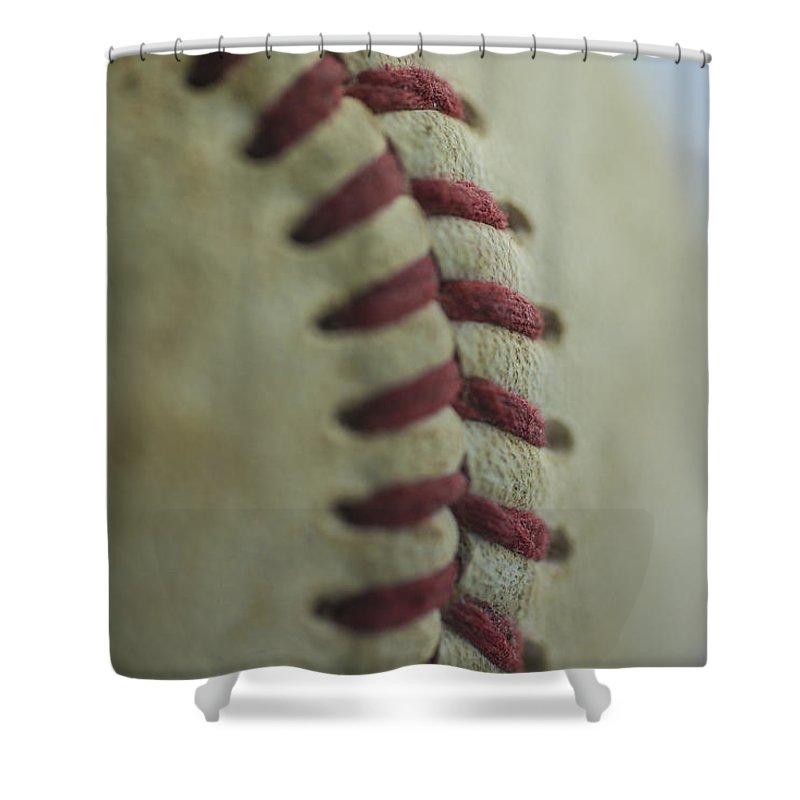 Baseball Shower Curtain featuring the photograph Baseball Macro 2 by David Haskett II