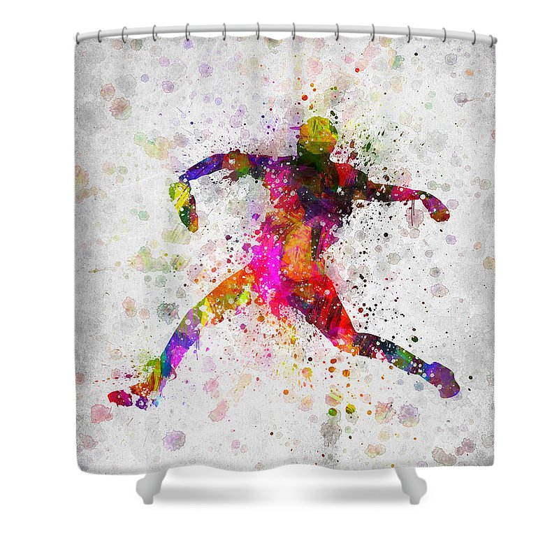 Baseball Shower Curtain featuring the digital art Baseball Player - Pitcher by Aged Pixel