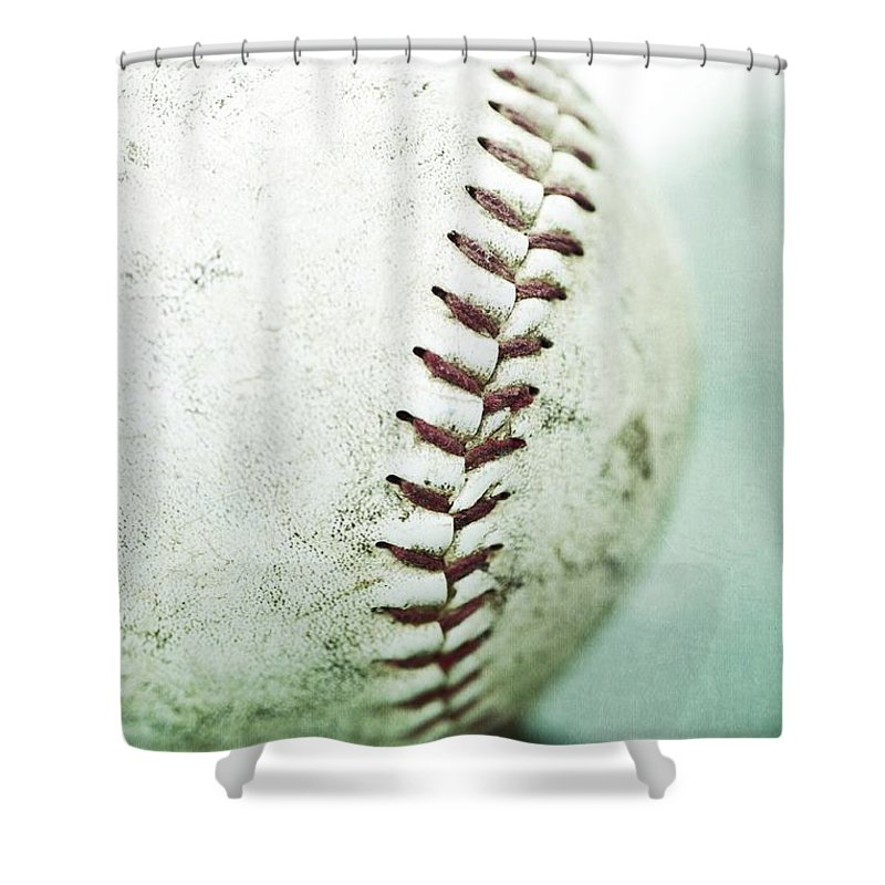 Old Shower Curtain featuring the photograph Baseball by Priska Wettstein