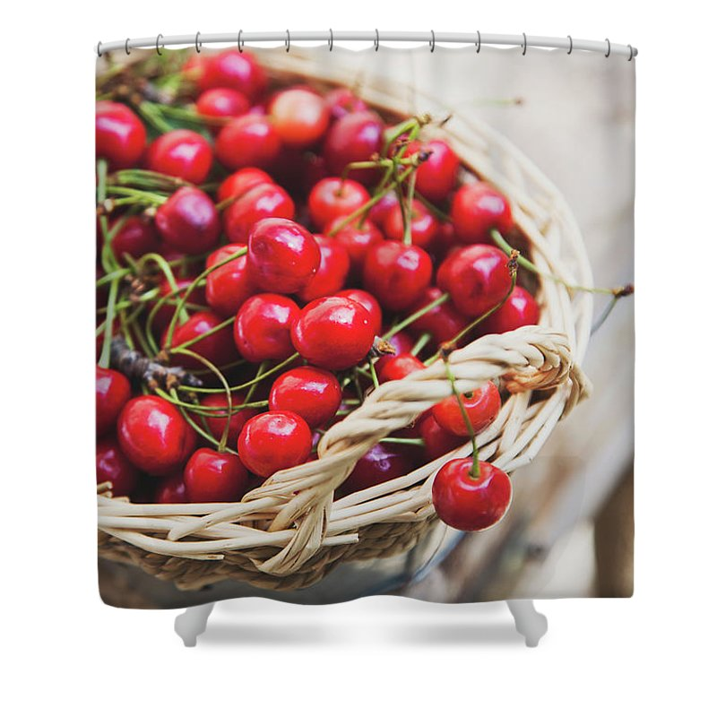 Cherry Shower Curtain featuring the photograph Basket Of Cherries by © Emoke Szabo