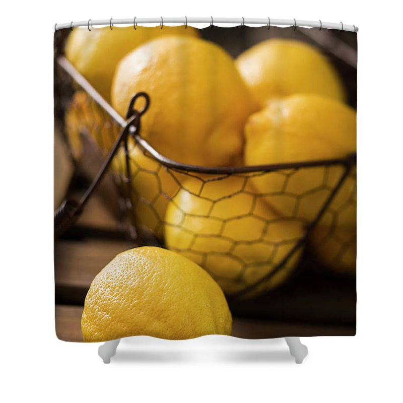 Vitamin C Shower Curtain featuring the photograph Basket With Organic Lemons Fresh From by Gmvozd