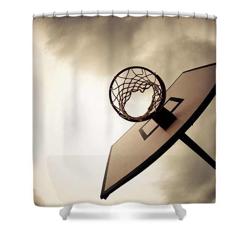 Goal Shower Curtain featuring the photograph Basketball Hoop, Dramatic Sky by Zodebala