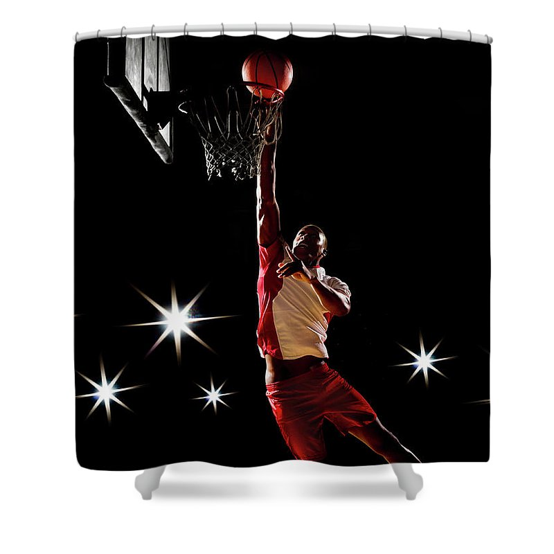 Three Quarter Length Shower Curtain featuring the photograph Basketball Player Dunking Basketball On by Compassionate Eye Foundation/chris Newton