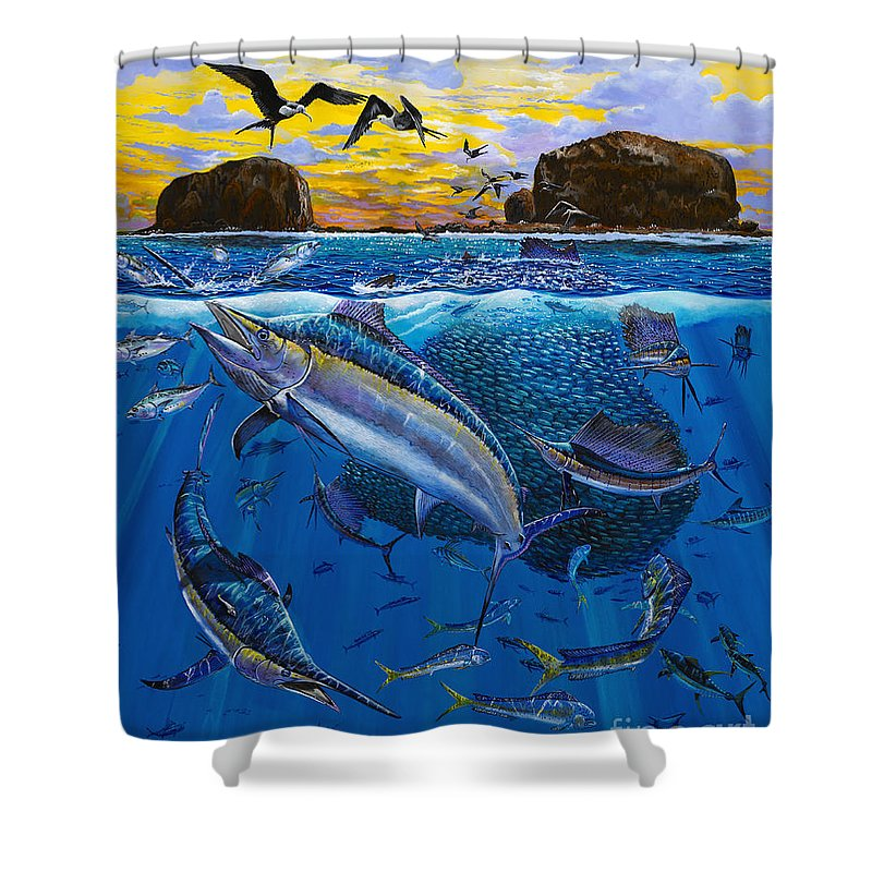 Bat Island Shower Curtain featuring the painting Bat Island Off00139 by Carey Chen