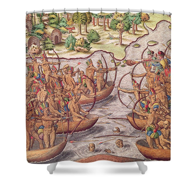 Combat Entre Indiens Shower Curtain featuring the painting Battle Between Indian Tribes by Jacques Le Moyne
