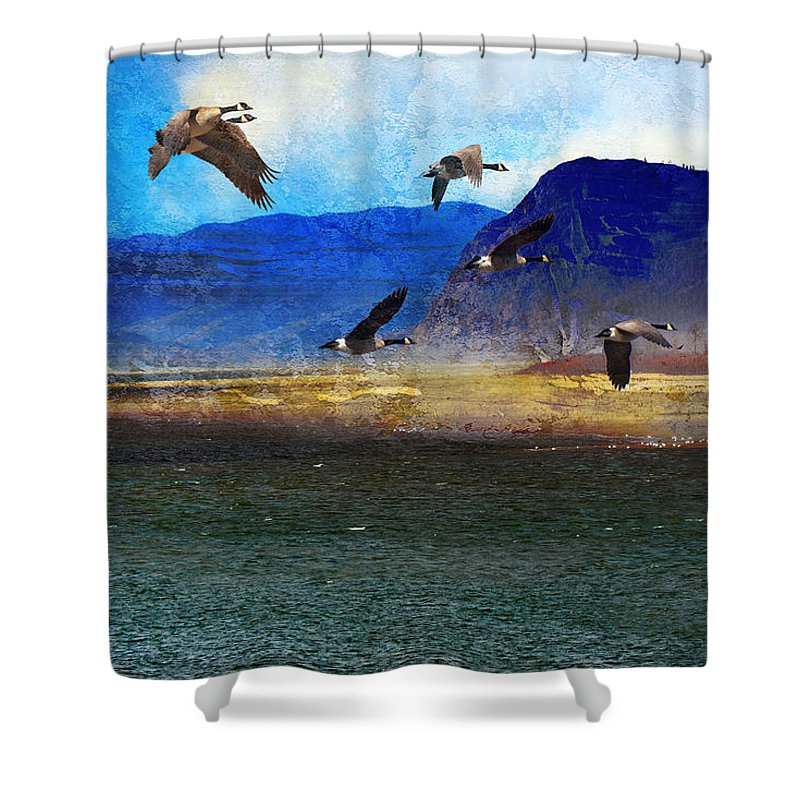 Canadian Geese Shower Curtain featuring the photograph Battle Bluff by Ed Hall