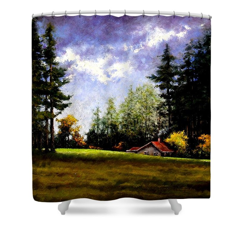 Landscape Shower Curtain featuring the painting Battle Ground Park by Jim Gola