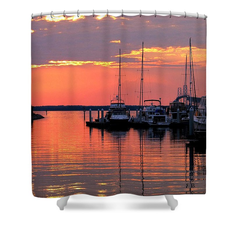 Chesapeake Shower Curtain featuring the photograph Bay Bridge Sunset by Doug Edmunds