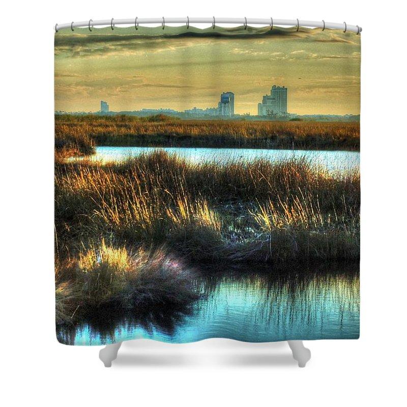 Alabama Shower Curtain featuring the digital art Bayou Sunrise by Michael Thomas