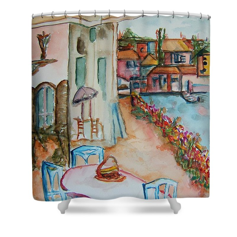 Bayside Shower Curtain featuring the painting Bayside Bistro by Elaine Duras