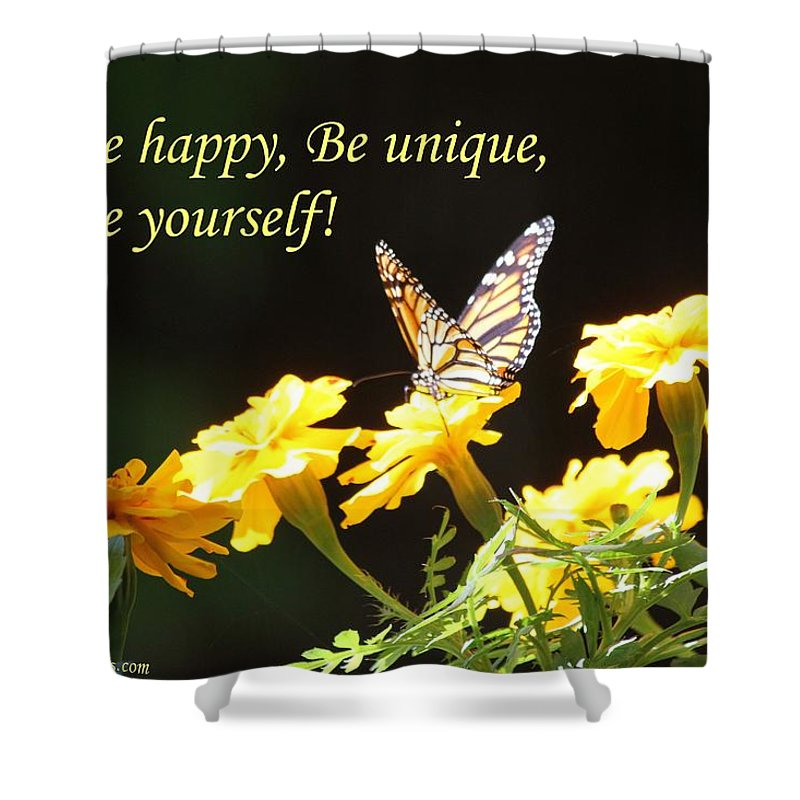 Habits And Patterns Shower Curtain featuring the photograph Be Happy by Pharaoh Martin