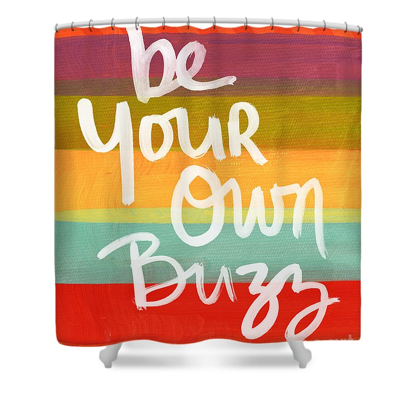 Stripes Shower Curtain featuring the painting Be Your Own Buzz by Linda Woods