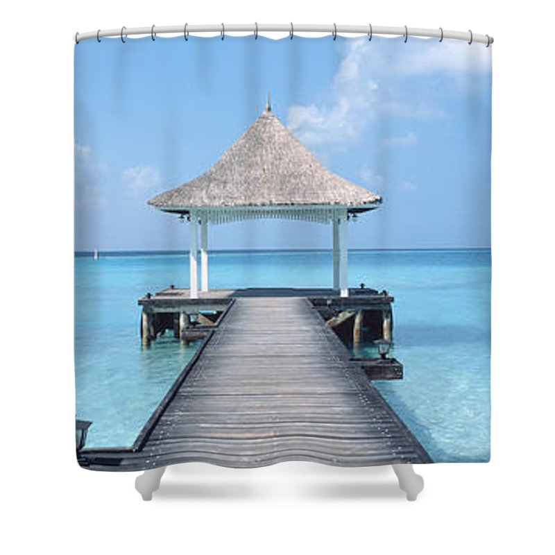 Photography Shower Curtain featuring the photograph Beach & Pier The Maldives by Panoramic Images