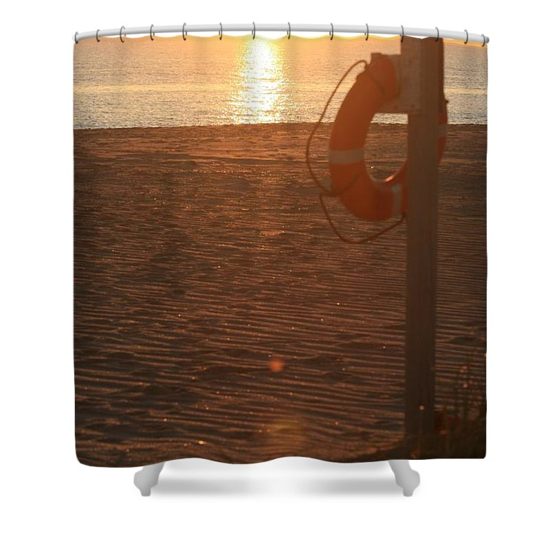 Beach Shower Curtain featuring the photograph Beach At Sunset by Nadine Rippelmeyer