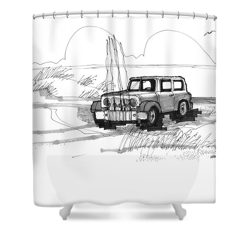 Ocracoke Shower Curtain featuring the drawing Beach Buggy Ocracoke 1970s by Richard Wambach