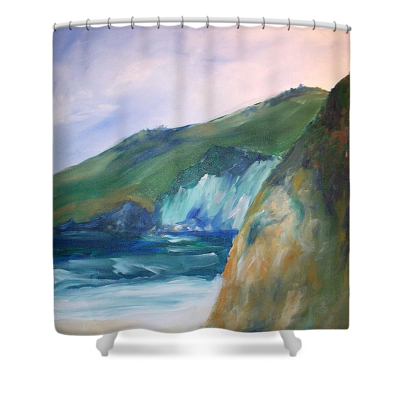 California Coast Shower Curtain featuring the painting Beach California by Eric Schiabor