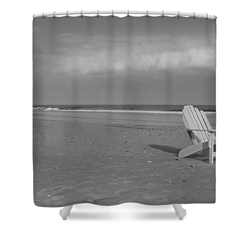 Adirondack Shower Curtain featuring the photograph Beach Chair by Betsy Knapp