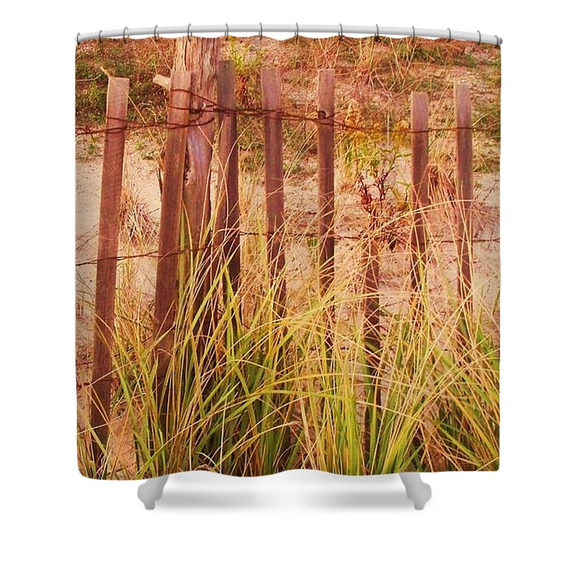 Beach Shower Curtain featuring the photograph Beach Dune Fence At Cape May Nj by Eric Schiabor