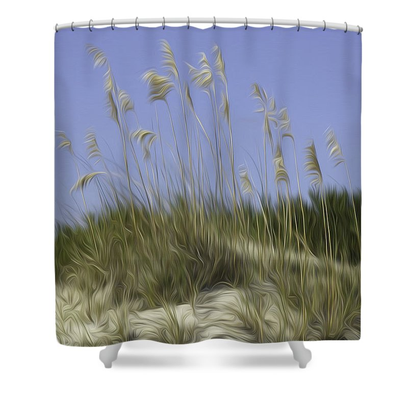 Beach Shower Curtain featuring the photograph Beach Dune Pixelated by James Ekstrom
