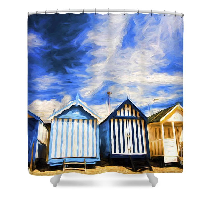 Beach Huts Shower Curtain featuring the photograph Beach huts at Southend by Sheila Smart Fine Art Photography