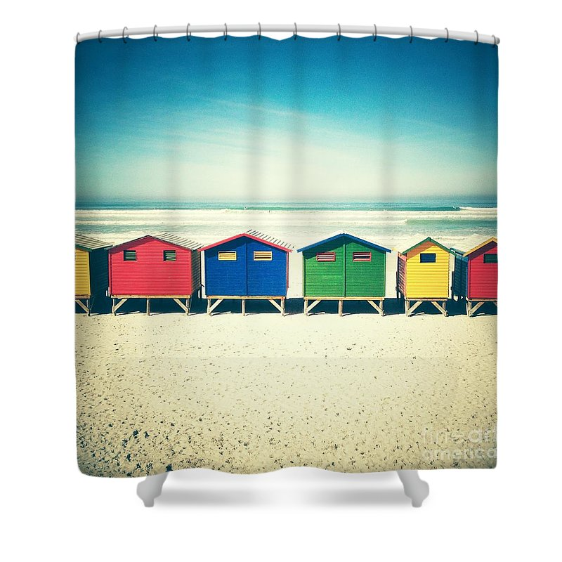 Beach Huts Shower Curtain Featuring The Photograph Muizenberg Retro By Neil Overy