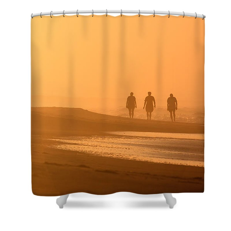 Trio Shower Curtain featuring the photograph Beach Landscape Silhouetted Sunrise Walkers Nc by Carol VanDyke