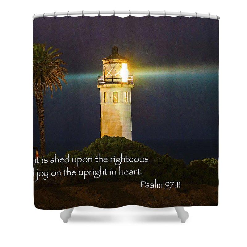Beach Lighthouse Shower Curtain Featuring The Photograph Inspirational Bible Scripture Passages Fine Art Original