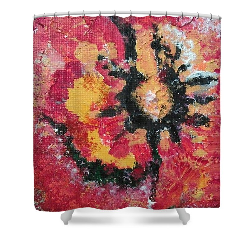 Abstract Shower Curtain featuring the painting Beach Painting by Lisa S Patti