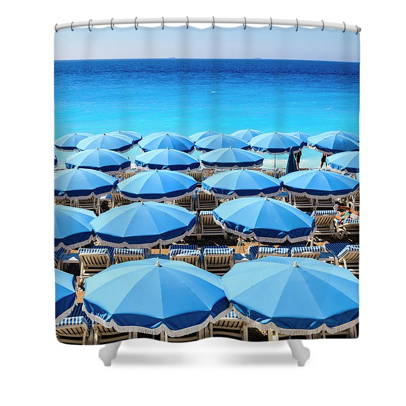 Outdoors Shower Curtain featuring the photograph Beach Parasols, Nice by Fraser Hall