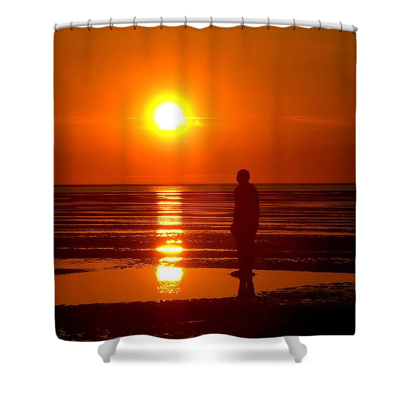 Sculpture Shower Curtain featuring the photograph Beach Sculpture At Crosby Liverpool Uk by Steve Kearns
