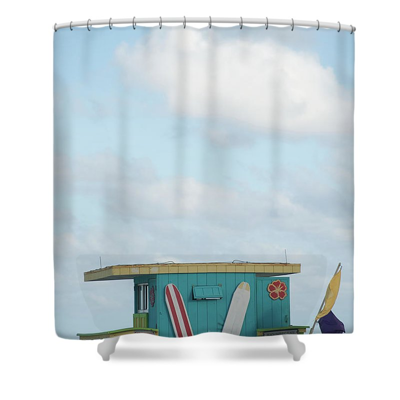 Security Shower Curtain featuring the photograph Beach Shack by Aaron Mccoy