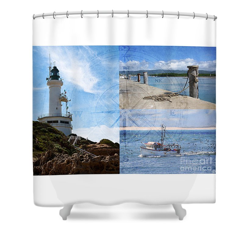 Fishing Shower Curtain featuring the photograph Beach Triptych 2 by Linda Lees