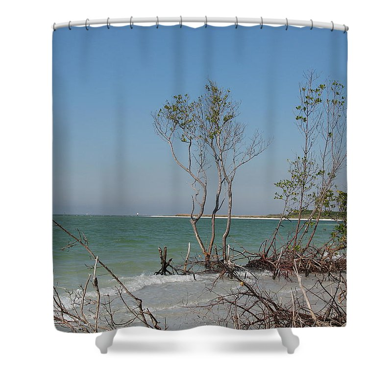 Beach Shower Curtain featuring the photograph Fort De Soto Beachview by Christiane Schulze Art And Photography