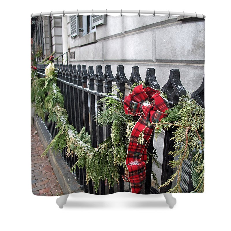 Fence Shower Curtain featuring the photograph Beacon Hill Fencing by Barbara McDevitt
