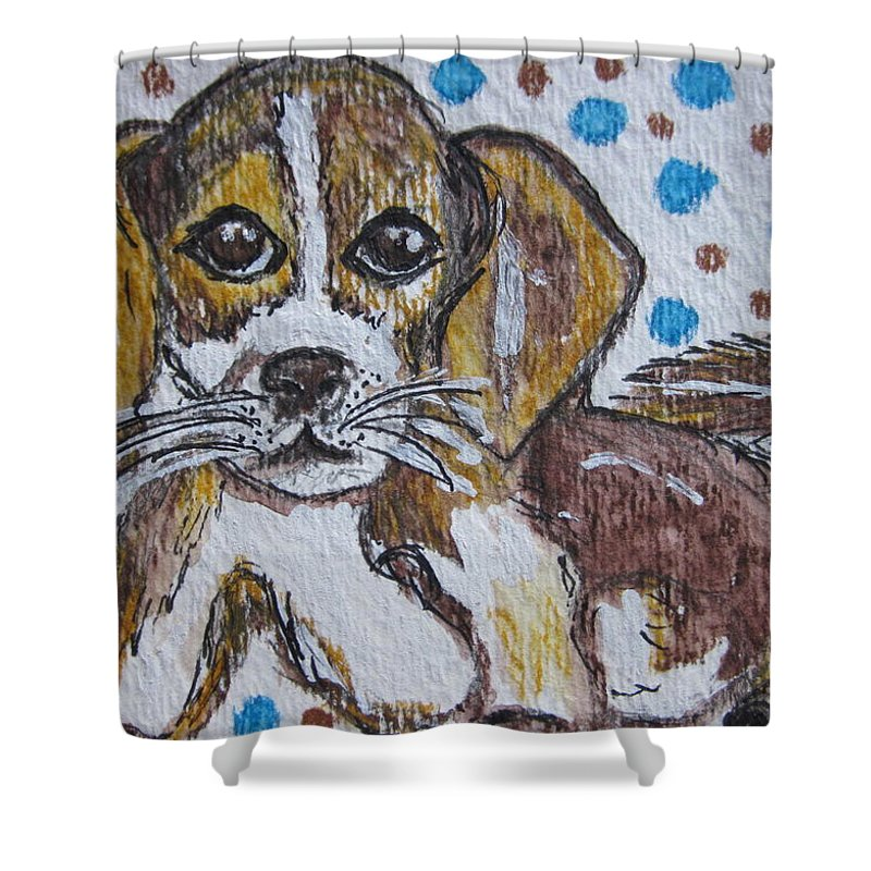 Beagle Puppy Shower Curtain featuring the painting Beagle Pup by Kathy Marrs Chandler