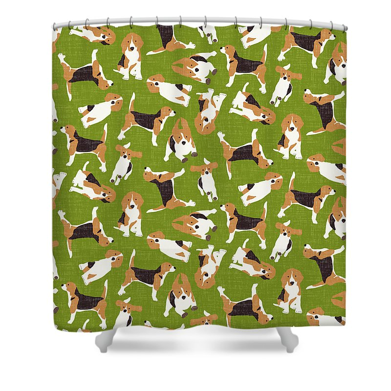 Beagle Shower Curtain Featuring The Drawing Scatter Green By MGL Meiklejohn Graphics Licensing