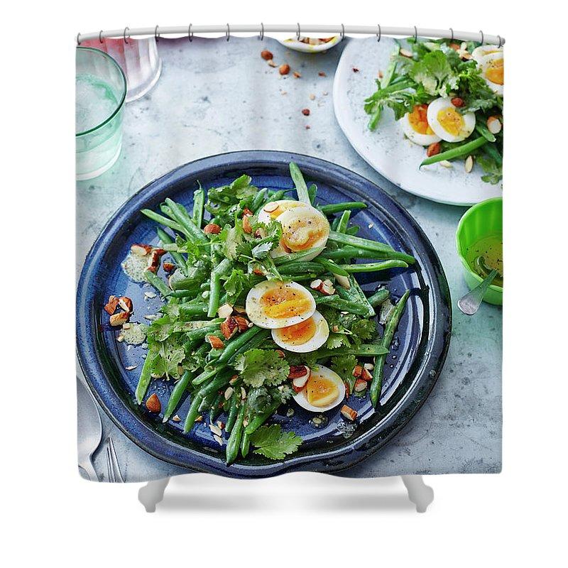 Spoon Shower Curtain featuring the photograph Bean, Coriander, Egg And Almond Salad by Brett Stevens