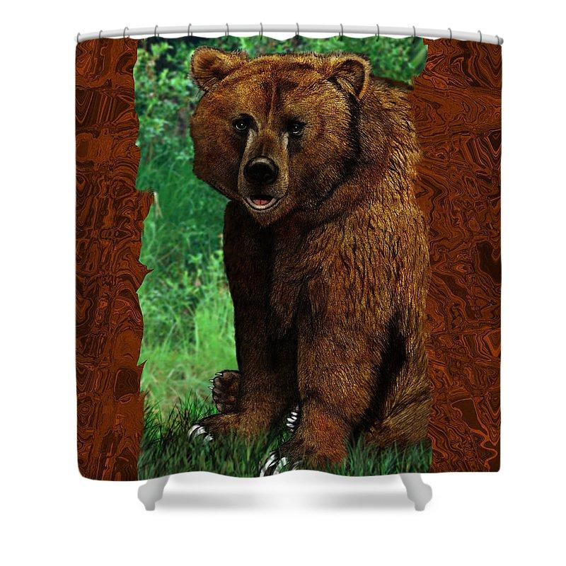 Bear Shower Curtain featuring the digital art Bear Naked by Christopher Korte