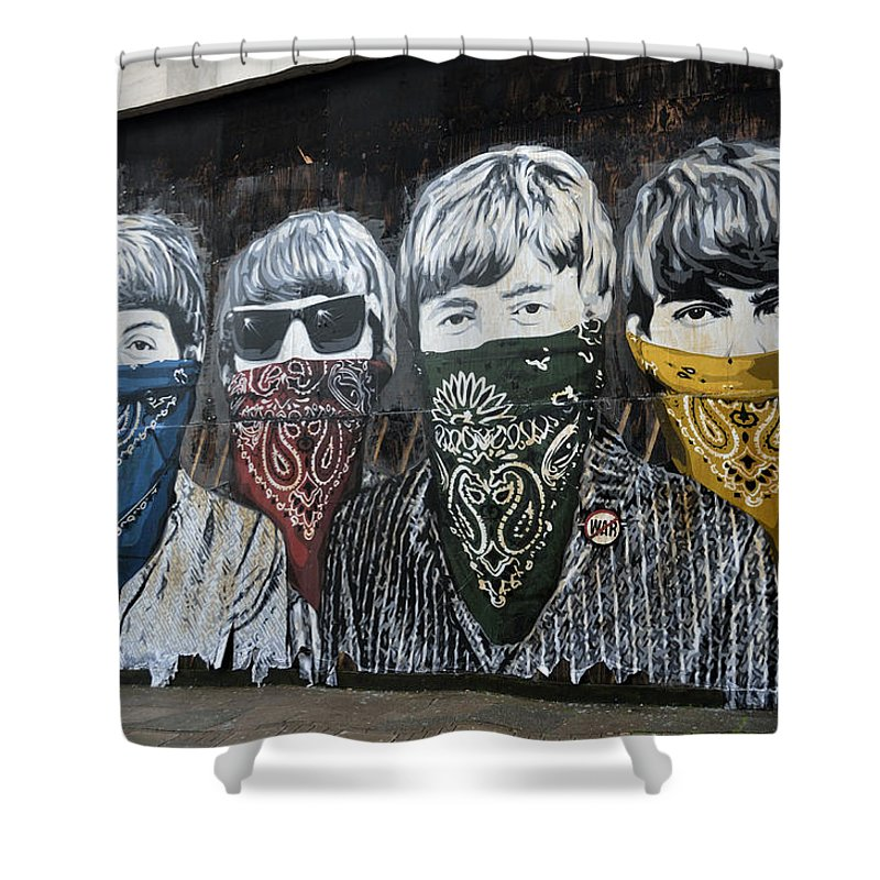 Banksy Shower Curtain featuring the photograph The Beatles wearing face masks street mural by RicardMN Photography