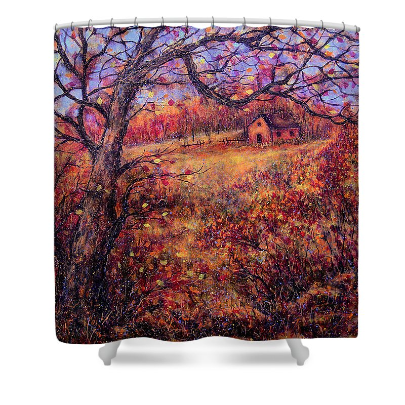 Autumn Shower Curtain featuring the painting Beautiful Autumn by Natalie Holland