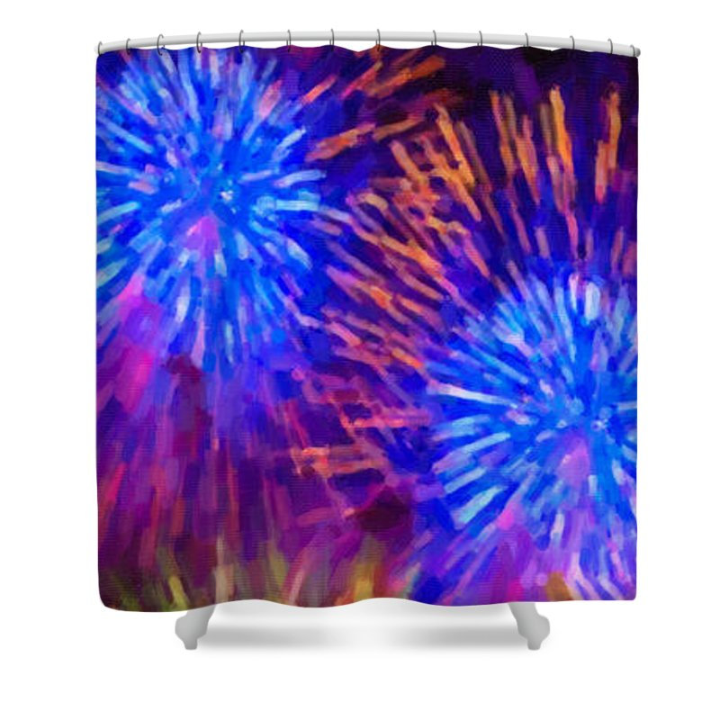Beautiful Fireworks Shower Curtain featuring the painting Beautiful Fireworks 10 by Jeelan Clark