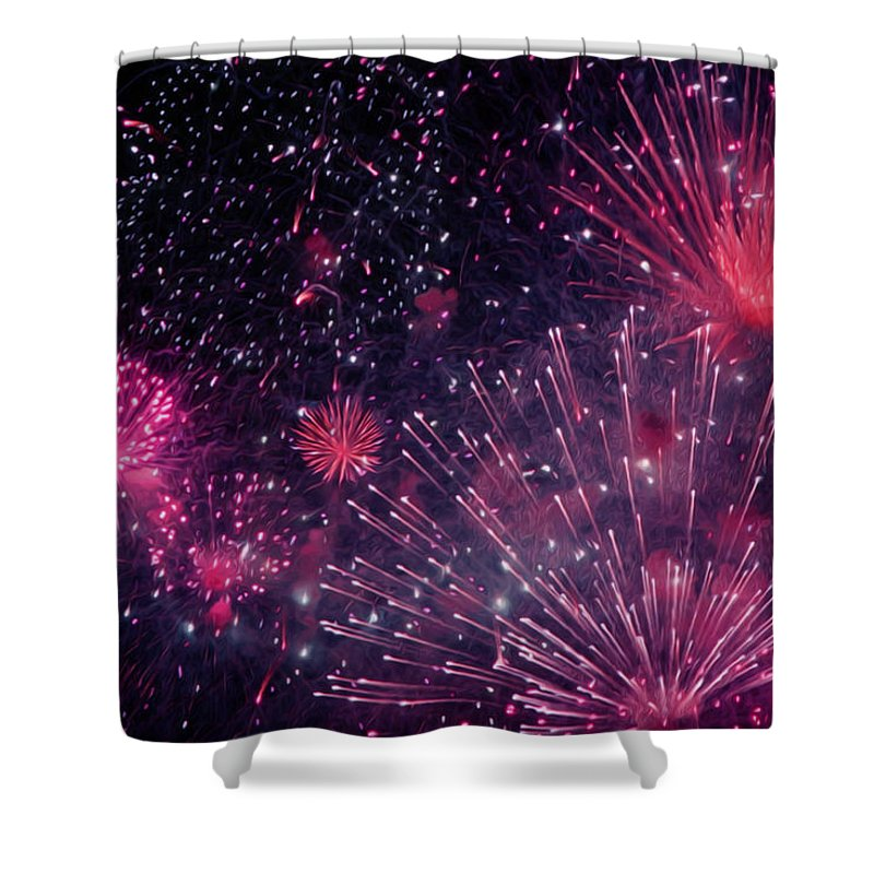Beautiful Fireworks Shower Curtain featuring the painting Beautiful Fireworks 12 by Jeelan Clark
