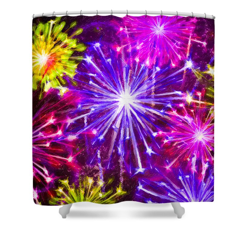 Beautiful Fireworks Shower Curtain featuring the painting Beautiful Fireworks 6 by Jeelan Clark