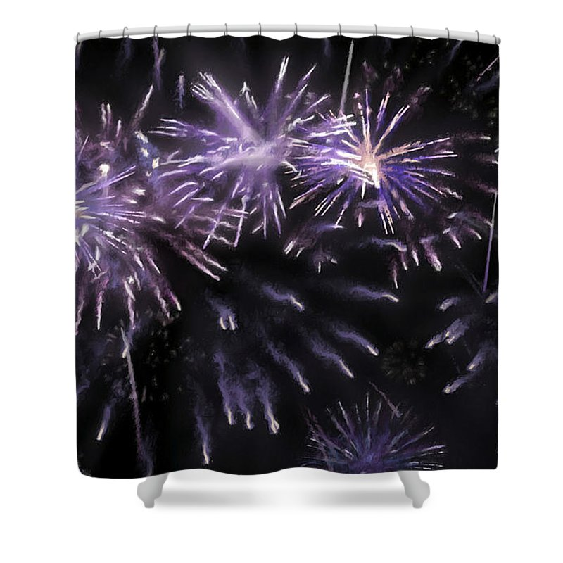 Beautiful Fireworks Shower Curtain featuring the painting Beautiful Fireworks 7 by Jeelan Clark
