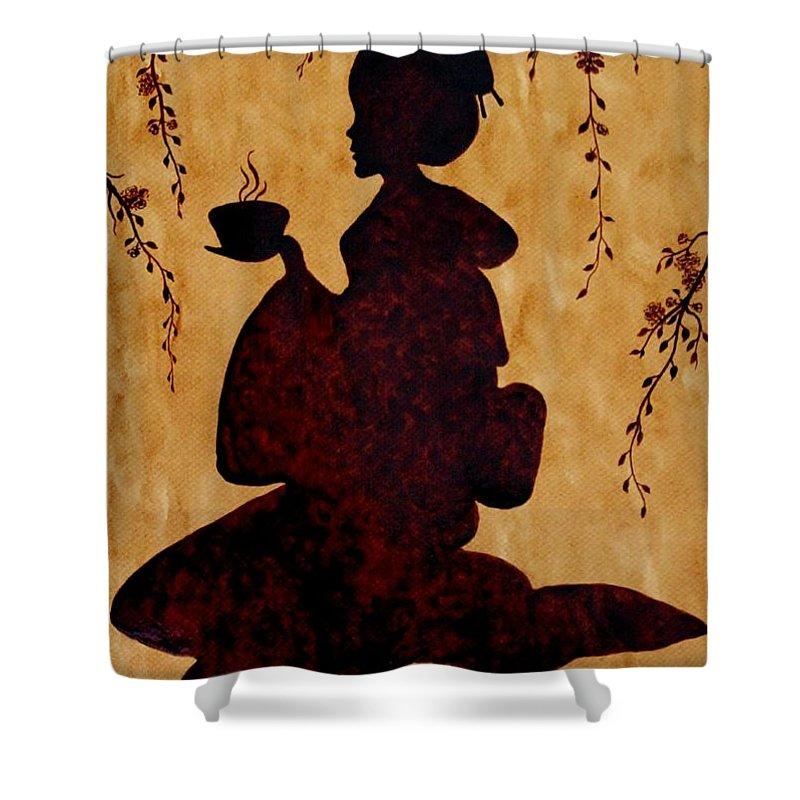 Geisha Coffee Art Painting Shower Curtain Featuring The Beautiful By Georgeta Blanaru