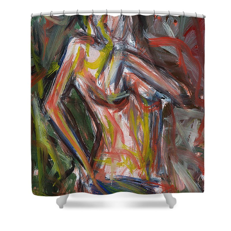 Art Shower Curtain featuring the painting Beautiful Nude Young Woman by Nenad Cerovic